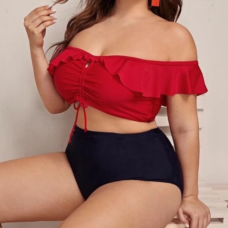 Bikini noir et rouge grande taille