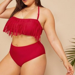 Bikini rouge à franges grande taille