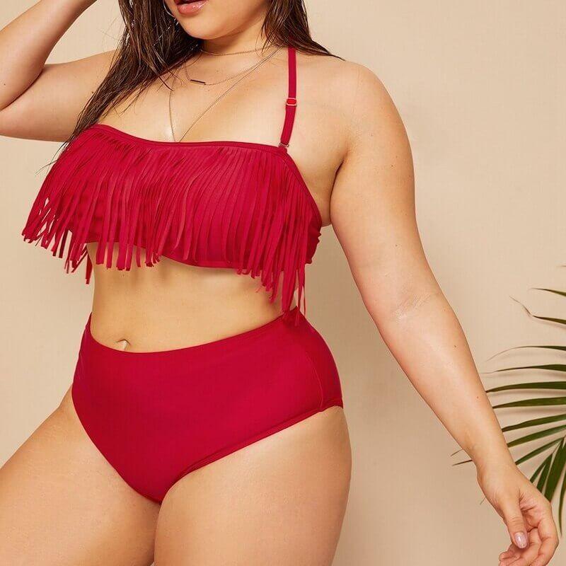 Plus size red tassel bikini