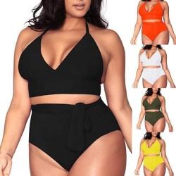Plus size high waist triangle bikini