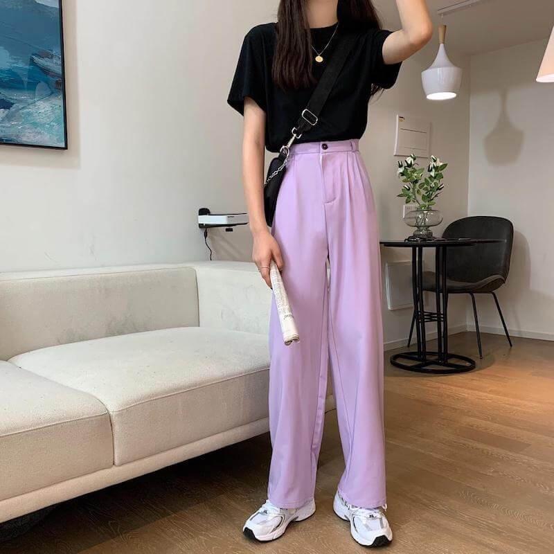 Pantalon taille haute à jambes larges violet