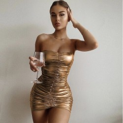 Strapless golden dress