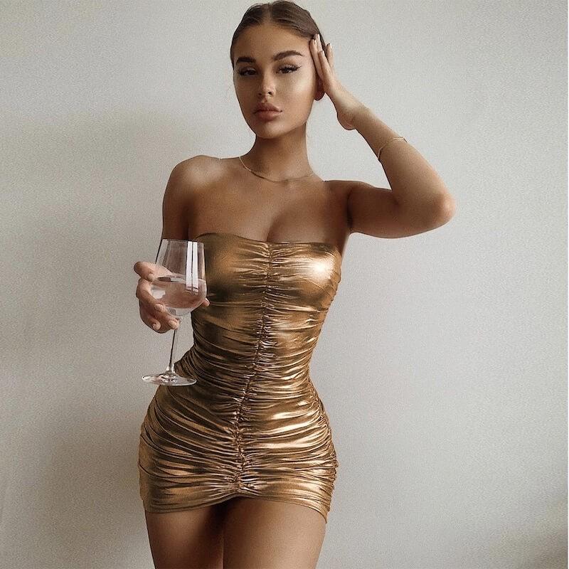 Strapless golden dress