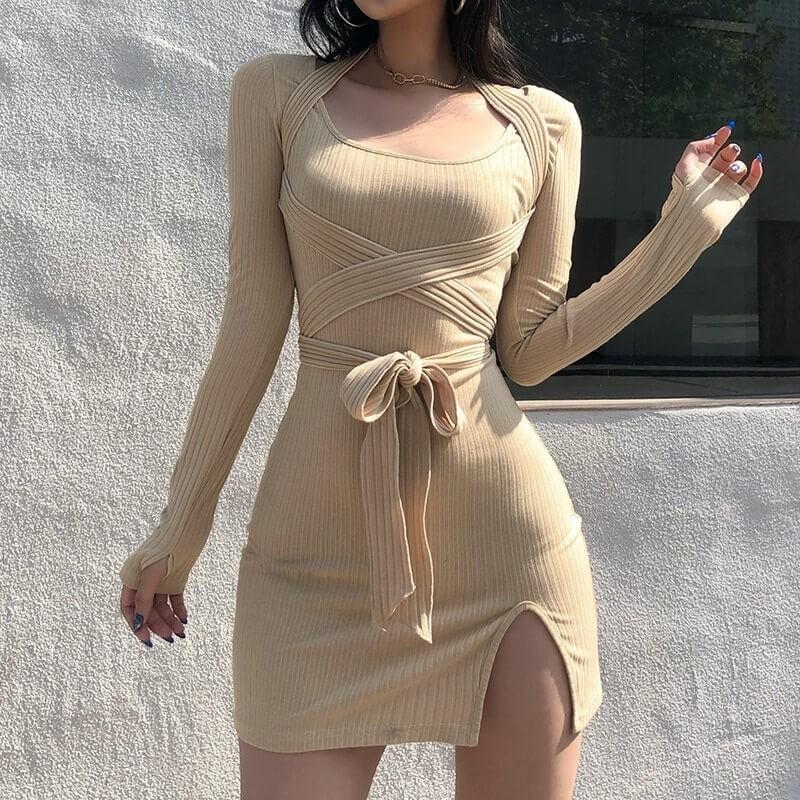Robe beige moulante