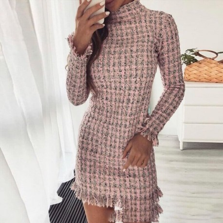 Robe rose manches longues col montant