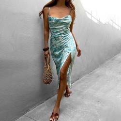 Slit floral satin dress