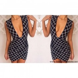 305 - Black and white grid dress