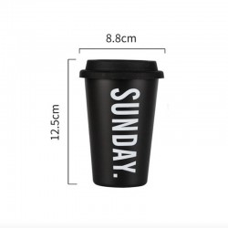 Minimalist aesthetic black mug with lid SUNDAY