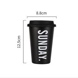 Minimalist aesthetic tasse avec couvercle noire SUNDAY