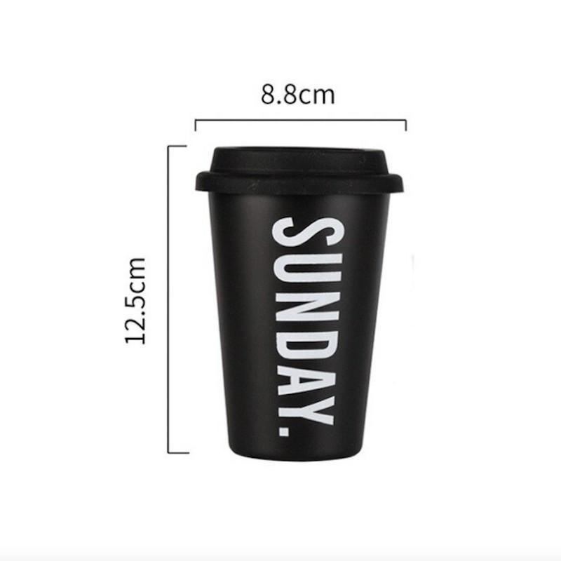 Minimalist aesthetic black mug with lid SUNDAY