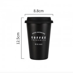 Minimalist aesthetic black coffee cup with lid GOOD MORNING