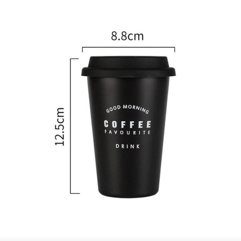 Minimalist aesthetic tasse à café avec couvercle noire GOOD MORNING
