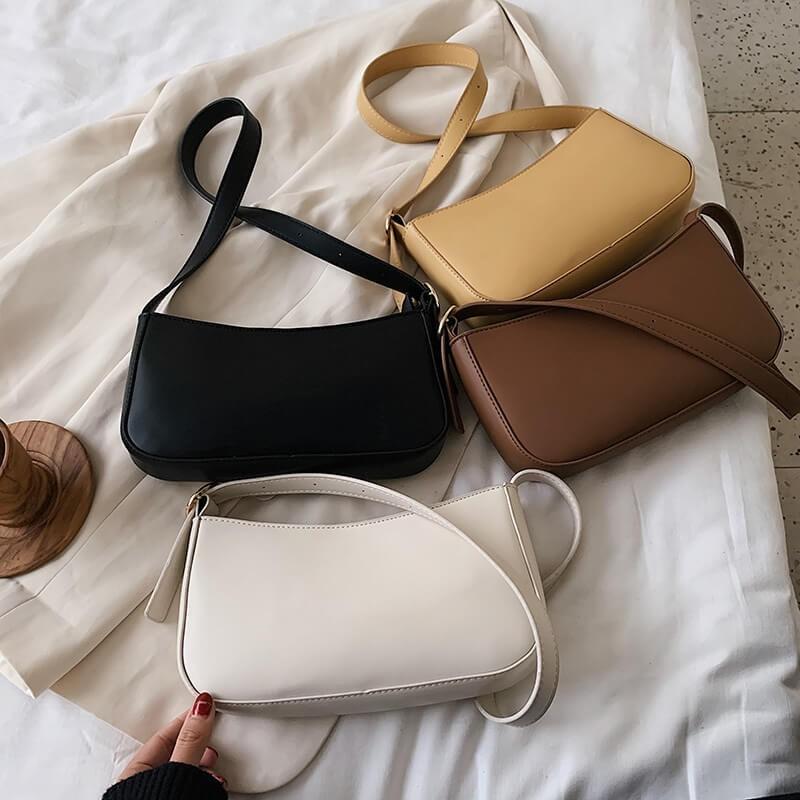 Retro neutral color handbag