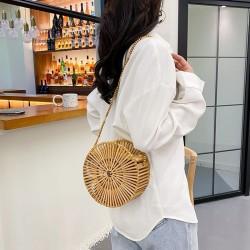 Bamboo round crossbody bag