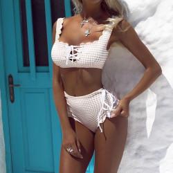 Bikini taille haute à carreaux