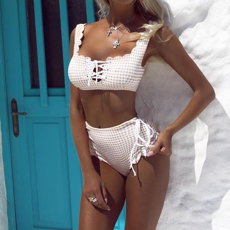 Checkered high waist bikini