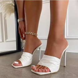 Patent leather square toe sandals