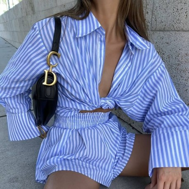 Stripped shorts and shirt set