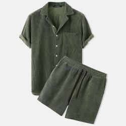 Men's velvet short sleeves and shorts set