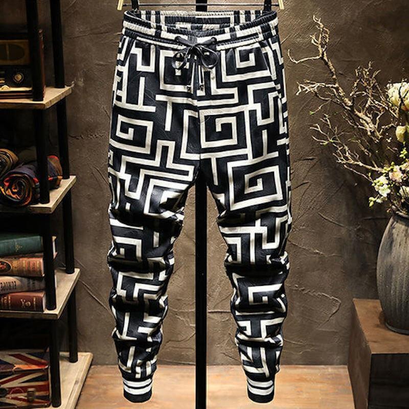 Pantalon casual noir et blanc