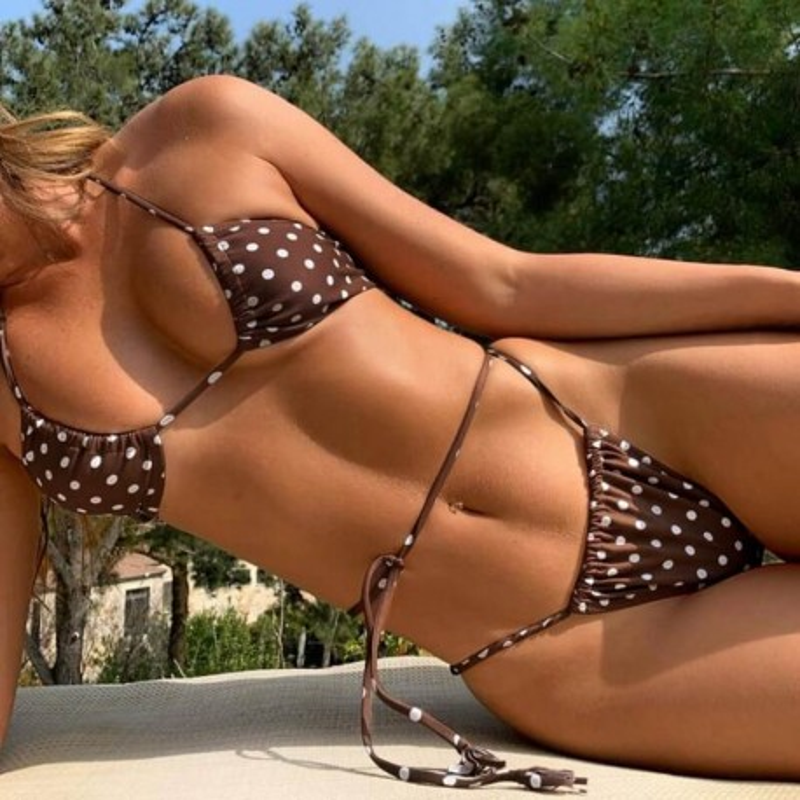 Bikini marron à pois