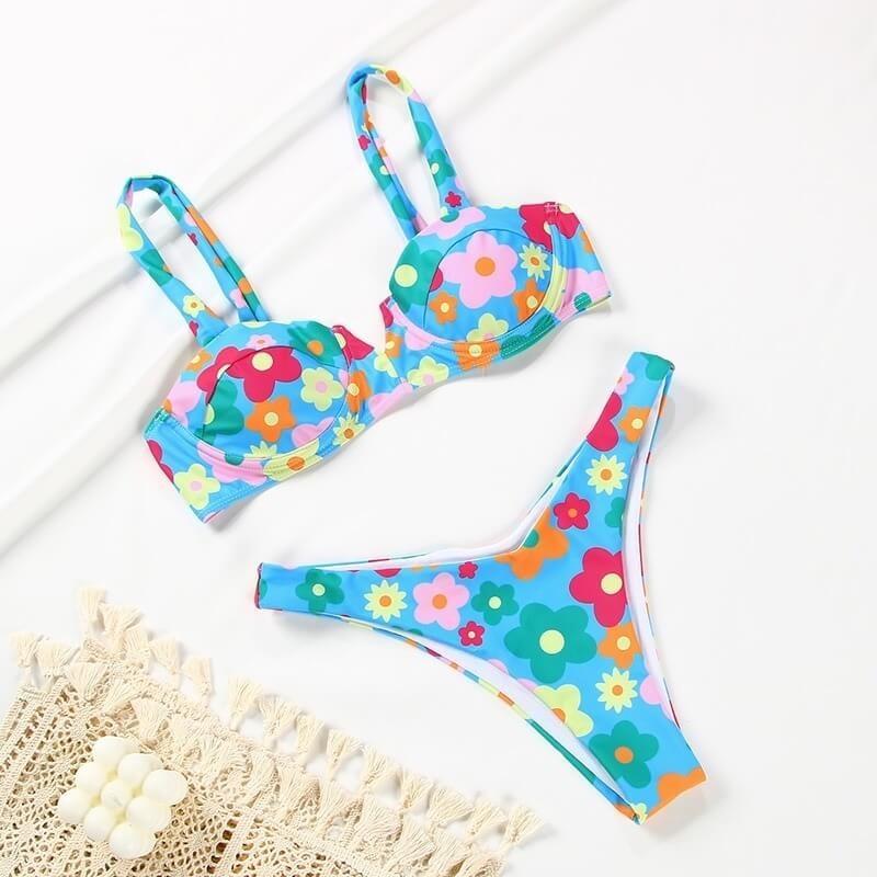 Bikini fleuri multicolore