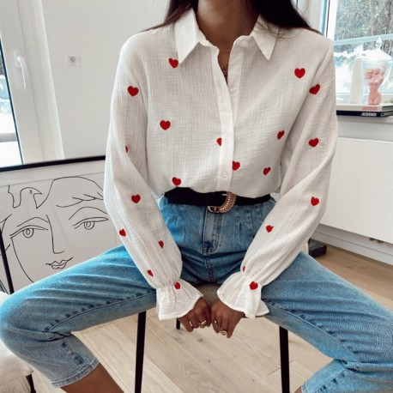 Chemise avec petits coeurs