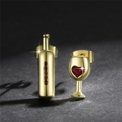 Boucles d'oreille bouteille et verre de vin