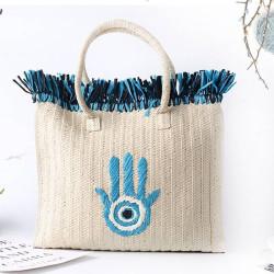 Boho hand straw bag