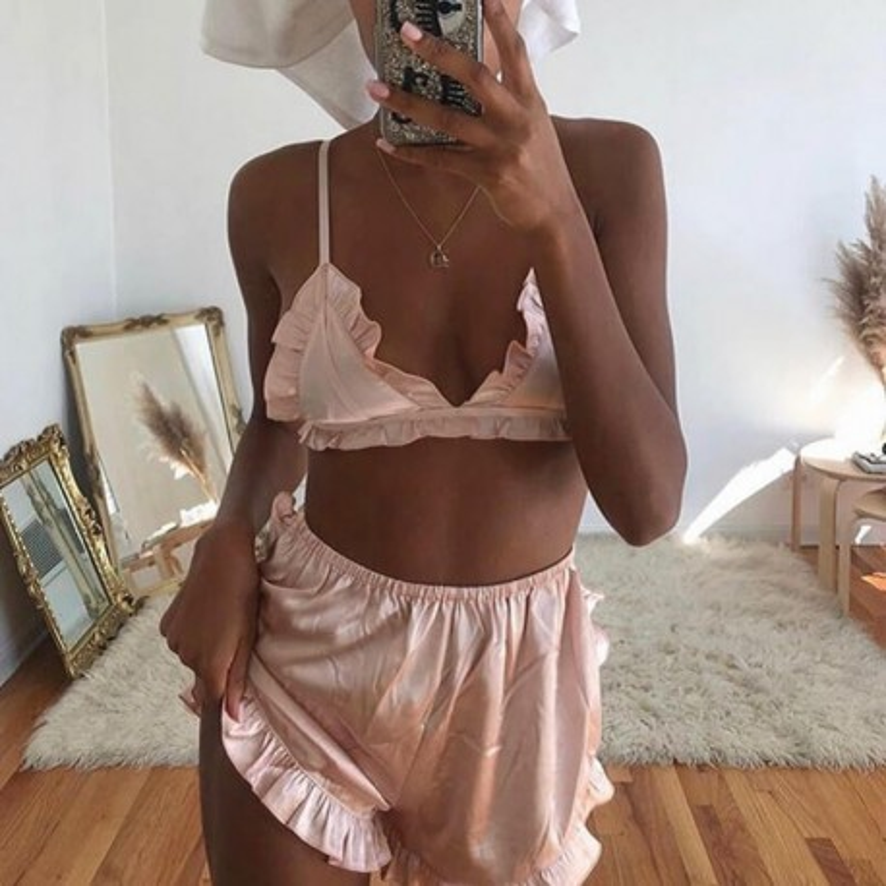 Pyjama en satin rose