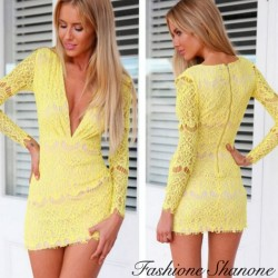 Yellow lace dress with deep V neck