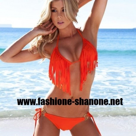 Bikini orange à franges