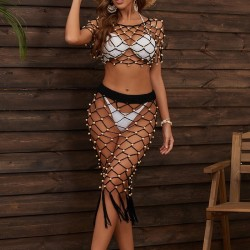 Beach mesh top and skirt set