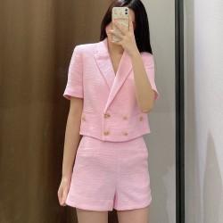 Pink jacket and shorts set