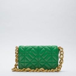 Green quilted handbag