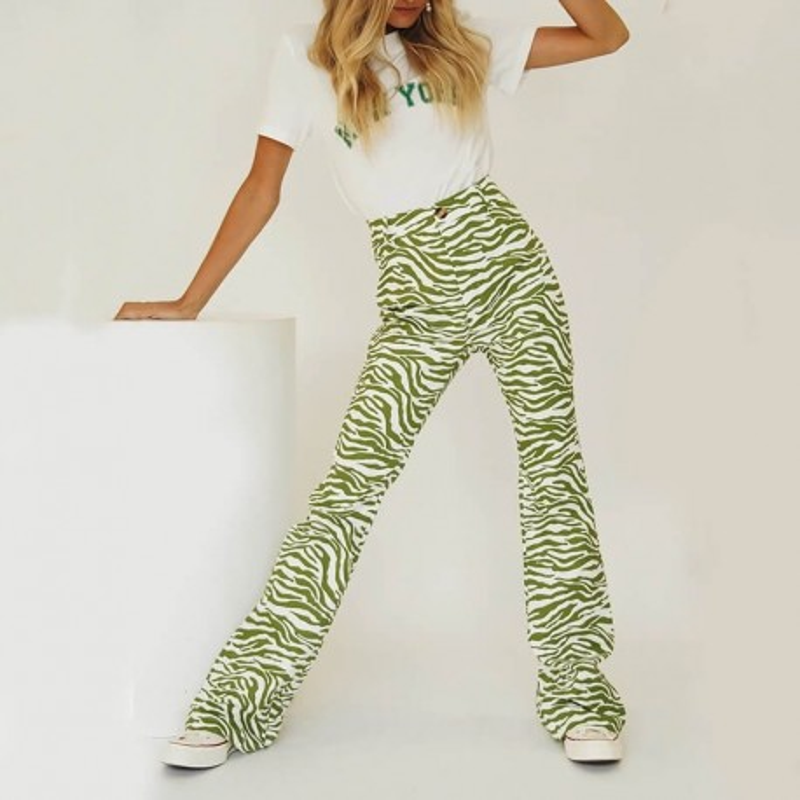 Pantalon zébré vert