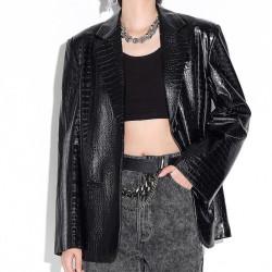Croco leather blazer