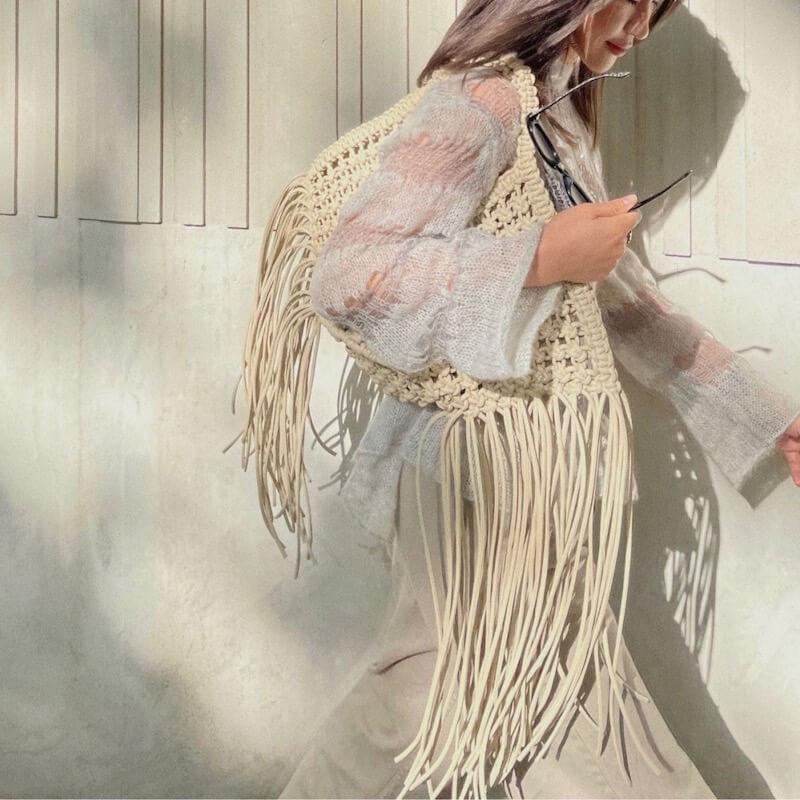 Bohemian woven handbag with fringes