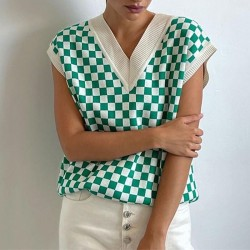 Green and white check sweater vest