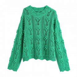 Green off-the-shoulder sweater