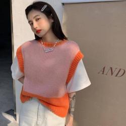 Pink and orange sweater vest