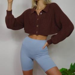 Brown cropped cardigan
