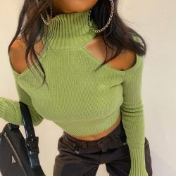 Off the shoulder and open back sweater