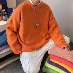 Pull orange pour homme