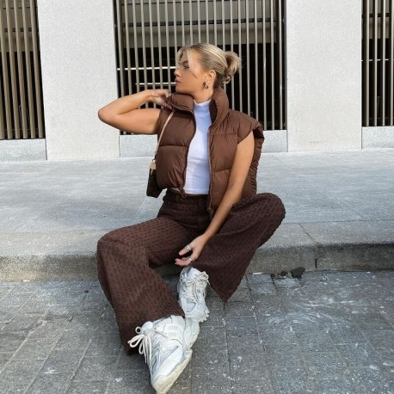 Doudoune courte sans manche marron