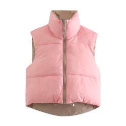 Pink sleeveless puffer jacket
