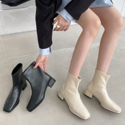Square toe flat leather ankle boots