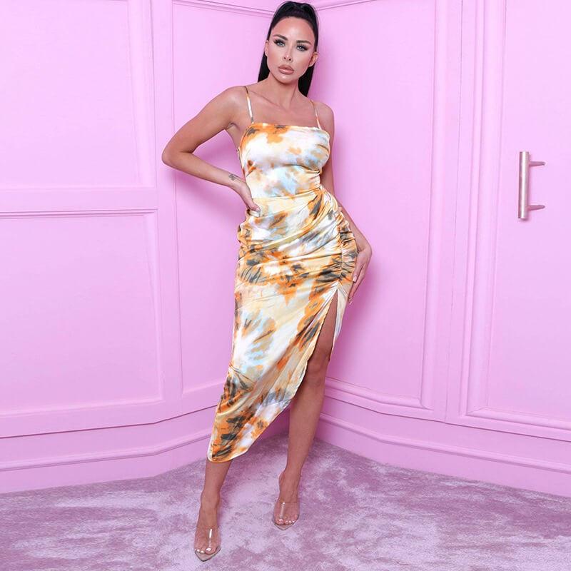 Multicolored asymmetric dress