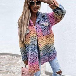 Multicolor chunky knit cardigan