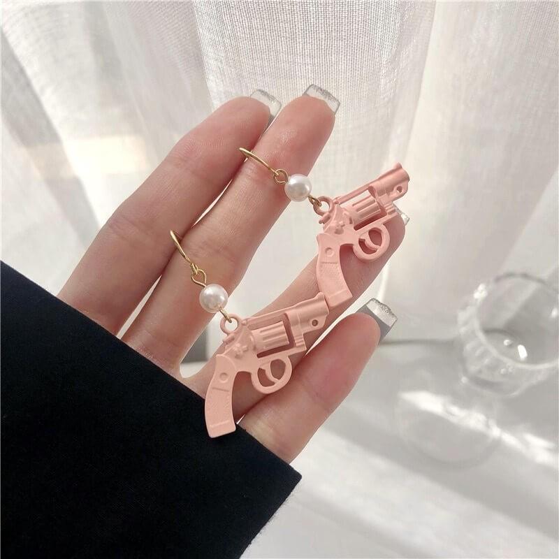 Boucles d'oreilles pistolet rose